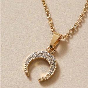 🌙Boho Pavé Moon Pendant Necklace